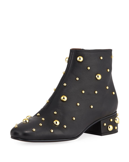 Napa Studded Zip Booties, Black