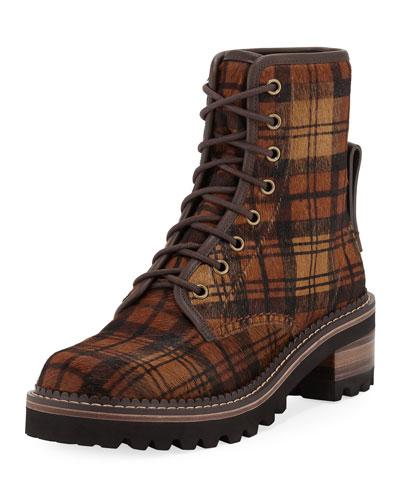 Tartan Fur Lace-Up Hiker Boots