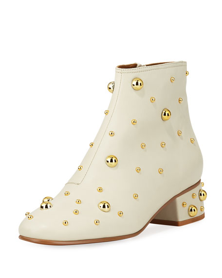 SEE BY CHLOE WOMEN'S STUDDED LEATHER BLOCK HEEL BOOTIES