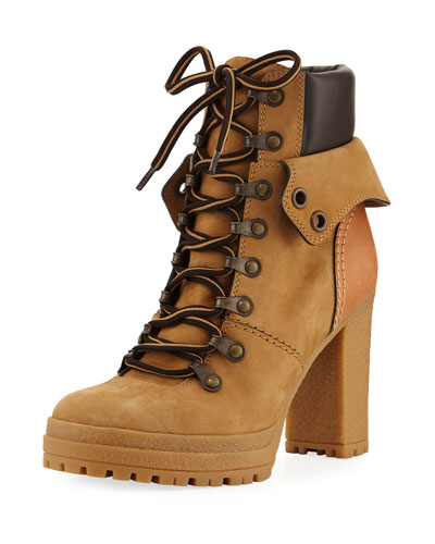 Lace-up Mixed High Leather Boot, Beige