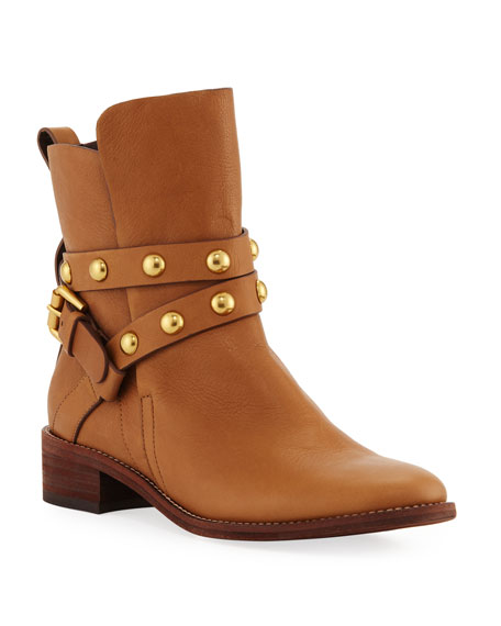 Studded Strappy Ankle Booties, Tan