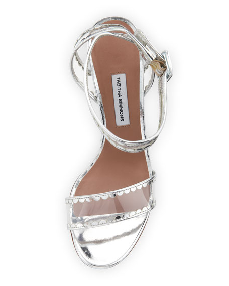 Leticia Frill Scallop PVC Block-Heel Sandal