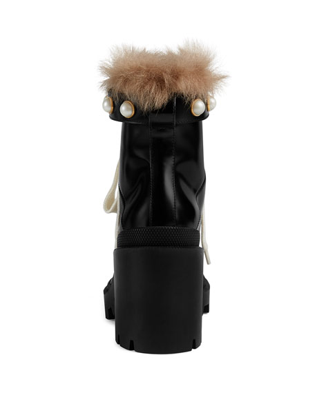 Leather Combat Boots with Fur Trim