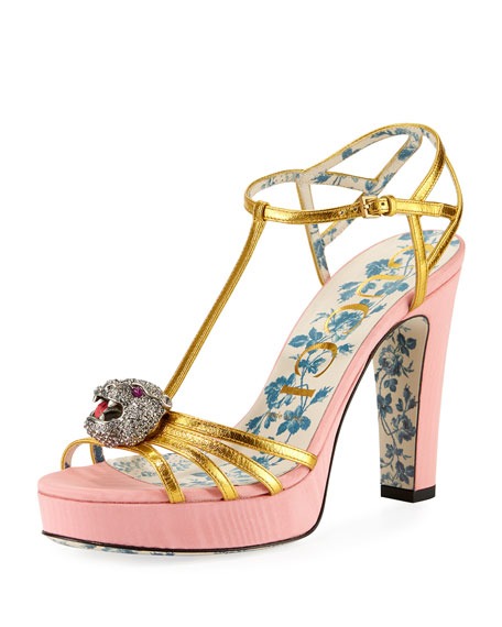 Elias Platform T-Strap Sandals with Tiger Head Ornament
