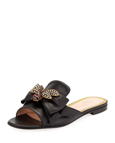 Embellished Bee Slide Sandals