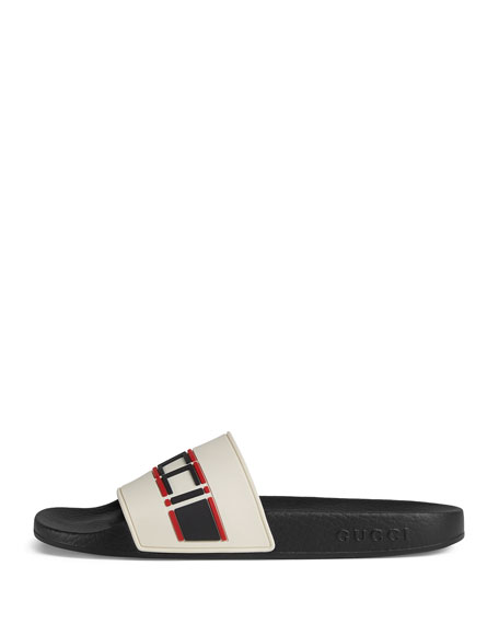 Pursuit Logo-Embellished Rubber Slides in Cream