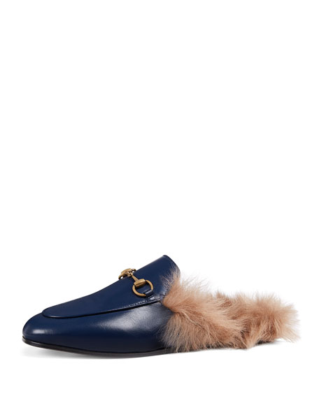 0c2231c952f Gucci Fur-Lined Leather Mule Slippers