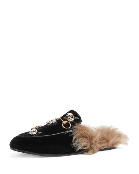 WOMEN'S PRINCETOWN EMBROIDERED VELVET & LAMB FUR MULES