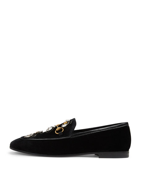 Jordaan Velvet Loafer With Crystal Bees, Black