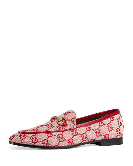 Jordaan Horsebit-Detailed Leather-Trimmed Logo-Printed Canvas Loafers, Beige/Red Gg Canvas