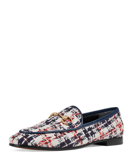 Jordaan Horsebit-Detailed Leather-Trimmed Tweed Loafers, Blue