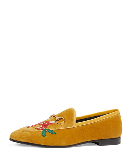 Bit-Detail Embroidered Velvet Loafers - Yellow Size 5.5