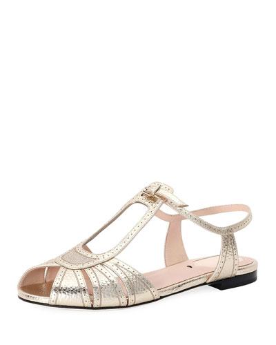 Chameleon Brogue Metallic Flat Sandal