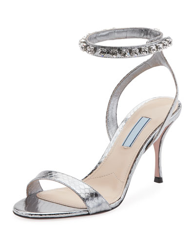 Metallic Snakeskin 100mm Sandal