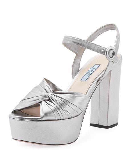 Prada Metallic Twisted Platform Sandal