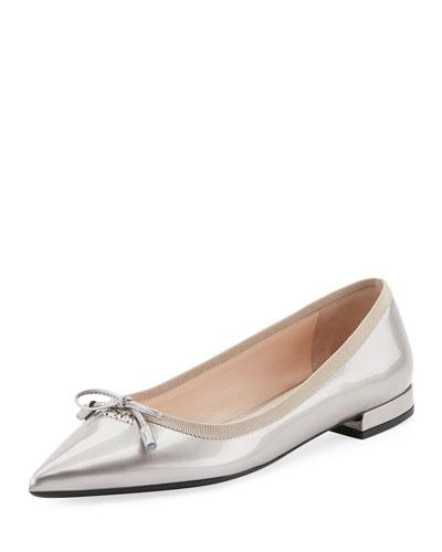 Metallic Pointed Ballerina Flat