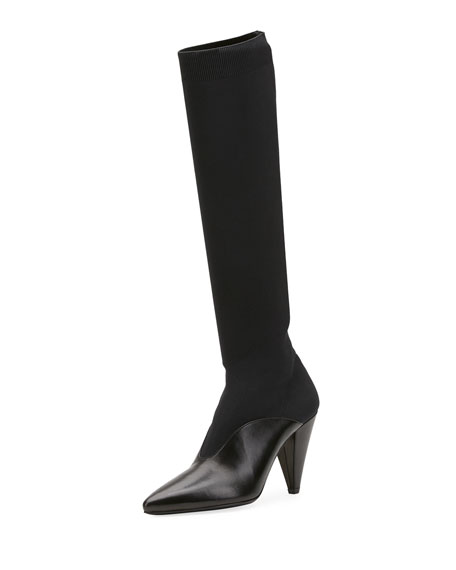 Stretch-Knit And Leather Knee Sock Boots, Black