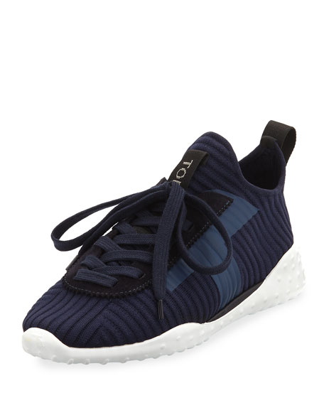 TOD'S STRETCH-KNIT SNEAKERS, BLUE