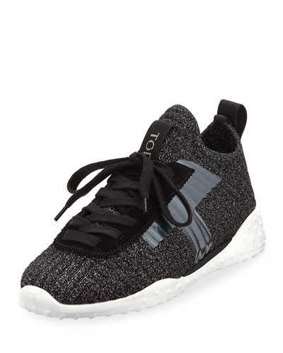 Stretch-Knit Sneakers, Black