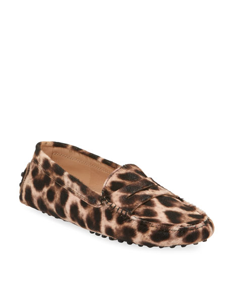 Leopard-Print Gommini Flat Penny Loafers