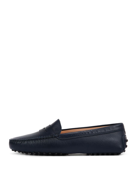 Gommini Leather Penny Driver Moccasin, Blue