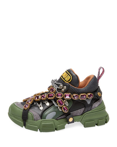 Tech Canvas Hiker Sneakers with Jeweled Strap