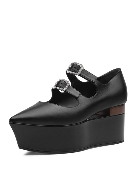Leather Flatform Mary Jane Pumps in 1000 Nero