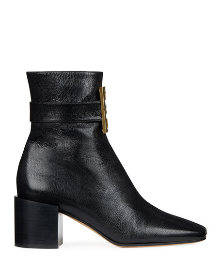 4G Logo Leather Block-Heel Ankle Boots, Black