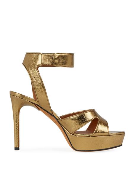 Shark-Lock Metallic Leather Platform Sandal, Gold
