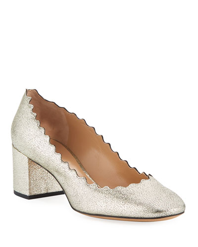 Lauren 50mm Scalloped Metallic Leather Block-Heel Pump