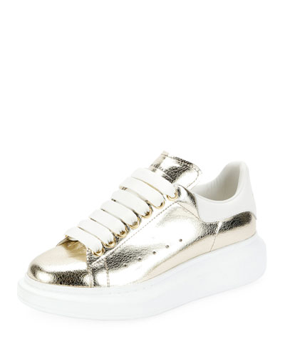 Metallic Lace-Up Platform Sneakers