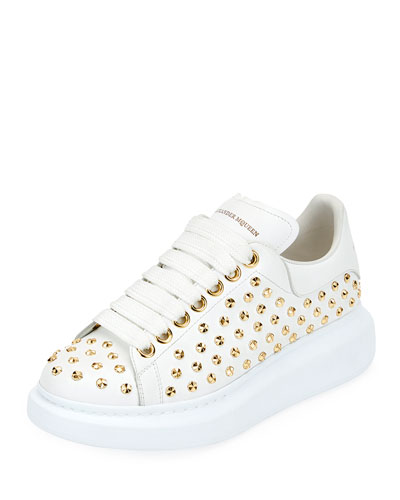 Studded Lace-Up Platform Sneakers