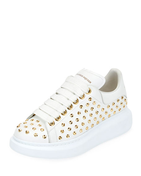 Studded Lace-Up Platform Sneakers, White