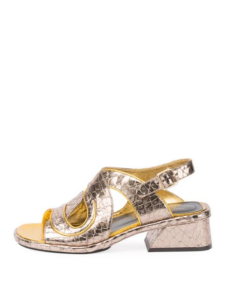 Asymmetric Metallic Sandal