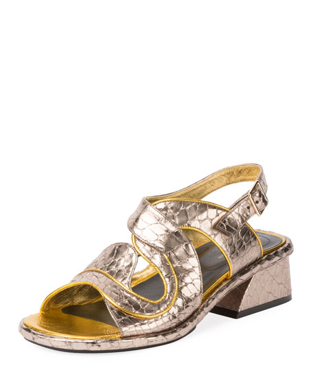 Angled-Heel Stamped Leather Sandals, Silver