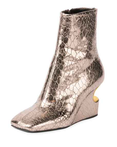 CARVED-OUT METALLIC LEATHER WEDGE BOOTIE