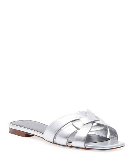 Nu Pieds Flat Metallic Calf Leather Slide Sandal, Gray