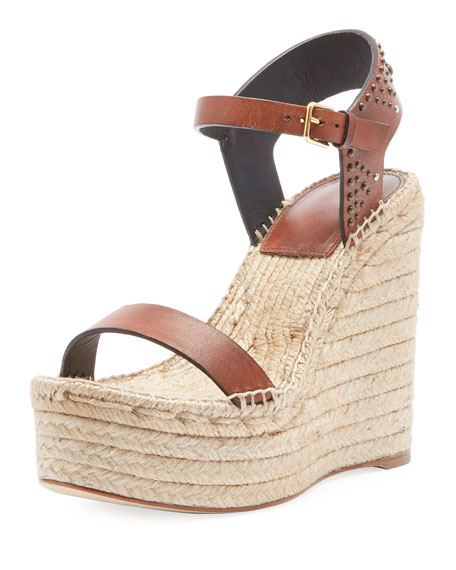 9eb530da4b8fa Saint Laurent Leather Platform Wedge Espadrille Sandal