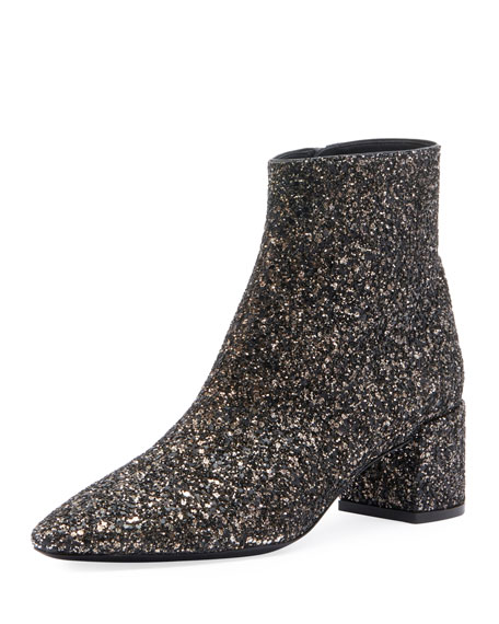 Loulou Glitter Ankle Boots - Black Size 10 in Metallic