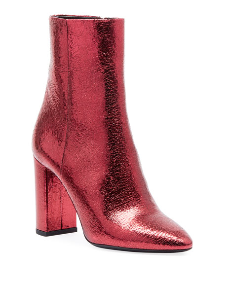 Lou Crackled Metallic Leather Mid-Heel Bootie in Red