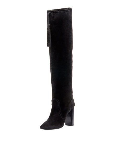 Meurice Suede Over-The-Knee Boot, Black