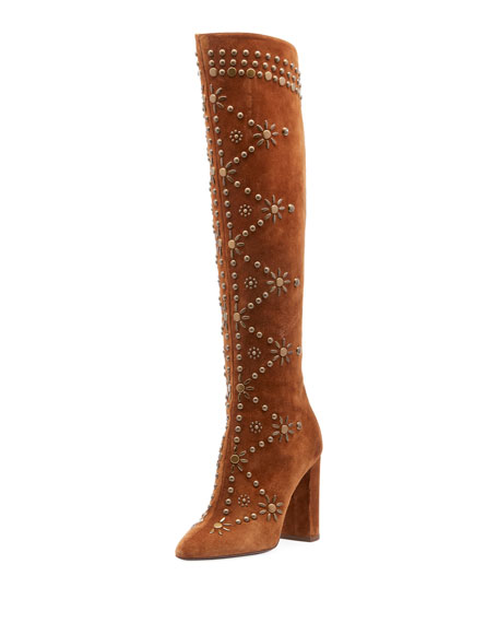 c61572d2f0a Saint Laurent Ella Studded Suede Knee Boot
