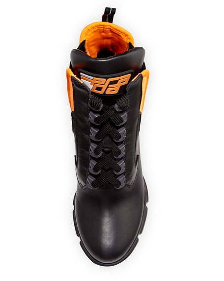 Leather/Neoprene Lace-Up Bootie