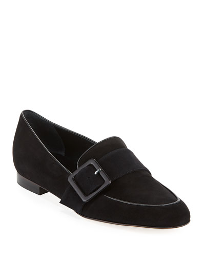 Teno Flat Suede Buckle Loafer
