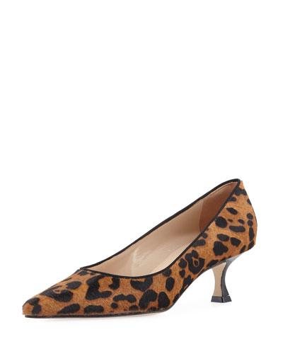 Srila Leopard-Print Fur Pump