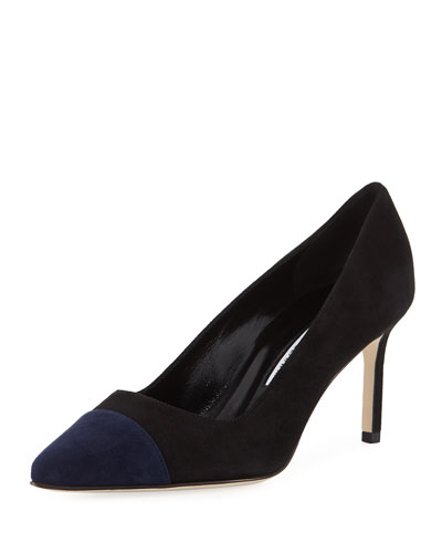 Bipunta 70mm Suede Cap-Toe Pump