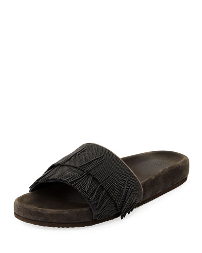 Double Monili Fringe Pool Slide Sandal