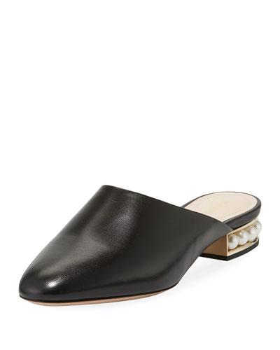 Casati Leather Pearl-Heel Mule