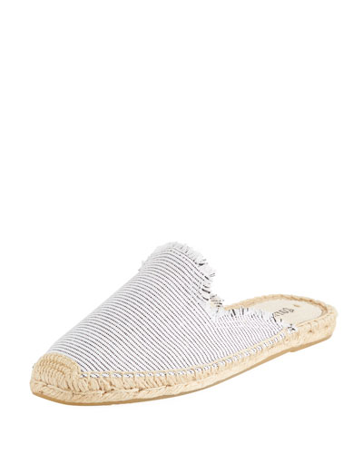 Frayed Striped Espadrille Mule