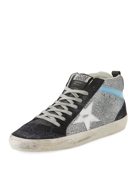 dc06a6013 Golden Goose Mid-Top Star Glitter Sneakers, Black/Silver
